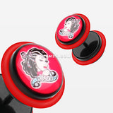 A Pair of Poison Pin-up Girl Acrylic Faux Gauge Plug Earring-Red