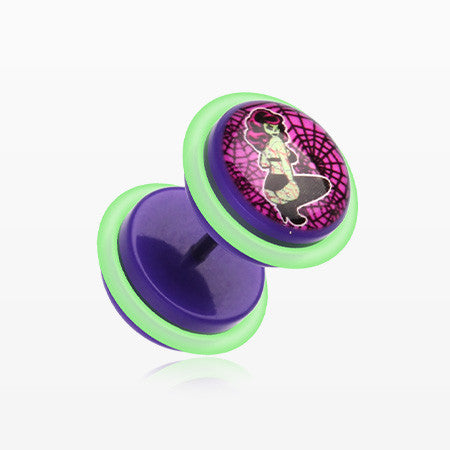 A Pair of Lady Zombie Acrylic Faux Gauge Plug Earring-Purple