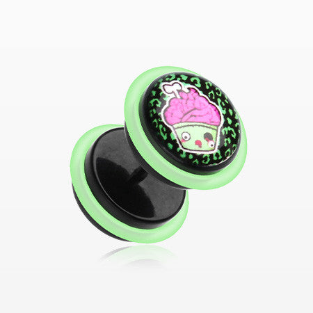 A Pair of Zombie Cupcake Acrylic Faux Gauge Plug Earring-Green