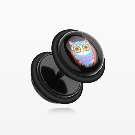 A Pair of Psychedelic Retro Owl Acrylic Fake Plug with O-Rings-Black