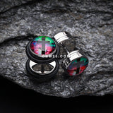 A Pair of Galaxy Cross Steel Fake Plug with O-Rings-Rainbow/Multi-Color