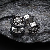 A Pair of Multi Star Steel Fake Plug with O-Rings-Black