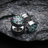 A Pair of Retro Leopard Steel Fake Plug with O-Rings-Blue/Aqua