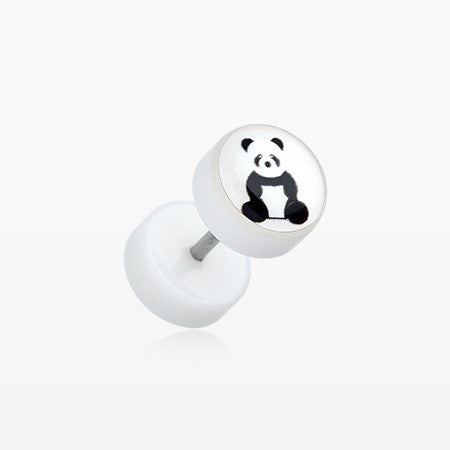 A Pair of Panda Bear Acrylic Fake Plug-Clear/White