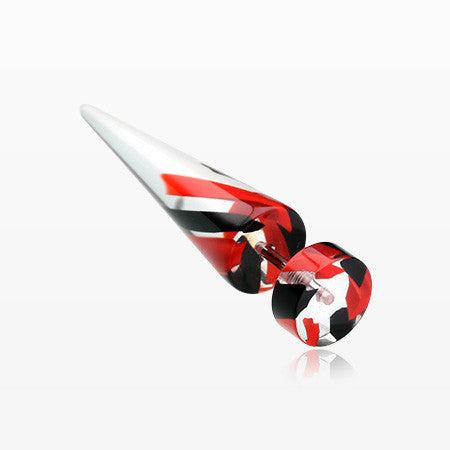 A Pair of Two Tone Stripe UV Acrylic Faux Taper Earring-Red/Black