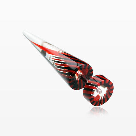 A Pair of Pinwheel Stripe UV Acrylic Faux Taper Earring-Red/Black