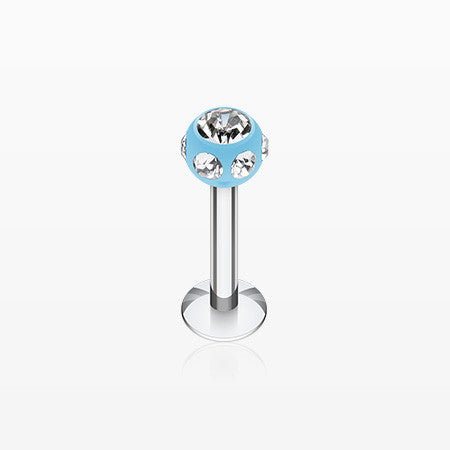 Aurora Gem UV Acrylic Ball Top Labret-Light Blue/Clear