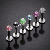 Aurora Gem UV Acrylic Ball Top Labret-White/Clear