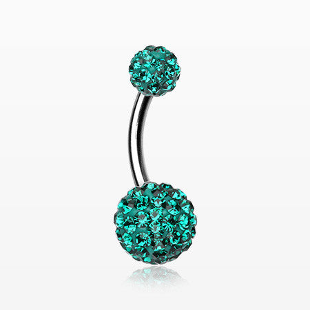 Classic Multi-Gem Sparkle Belly Ring-Dark Green