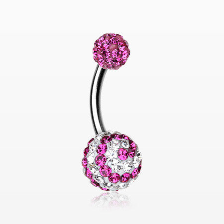 Spiral Multi-Gem Sparkle Belly Ring-Fuchsia/Clear