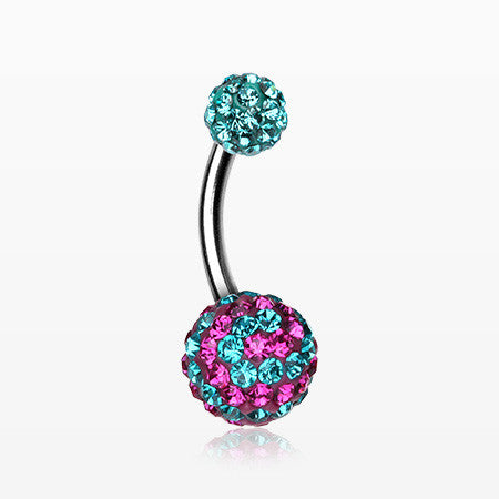 Spiral Multi-Gem Sparkle Belly Ring-Teal/Fuchsia