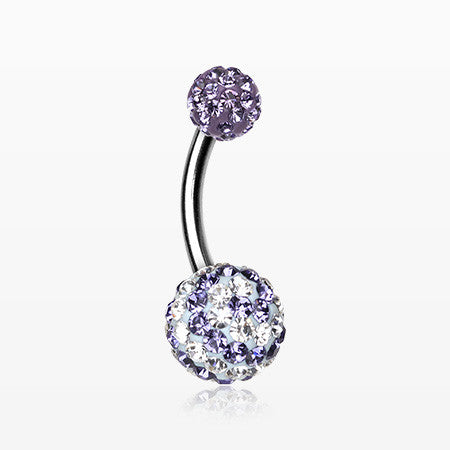 Spiral Multi-Gem Sparkle Belly Ring-Tanzanite/Clear