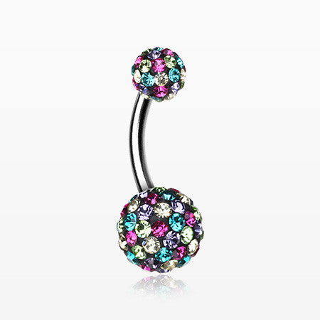Brilliant Motley Multi-Gem Sparkle Belly Ring-Retro