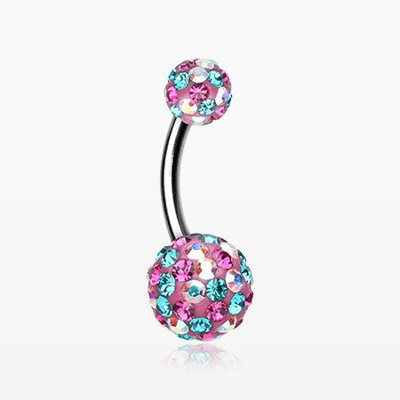 Retro Motley Multi-Gem Sparkle Belly Button Ring-Teal/Fuchsia/Aurora Borealis