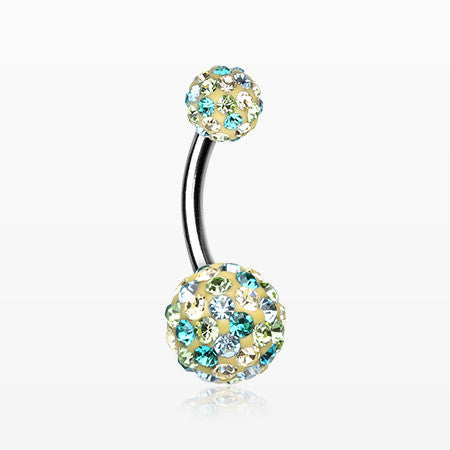 Retro Motley Multi-Gem Sparkle Belly Button Ring-Teal/LT. Green/Jonquil