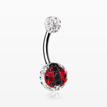 Ladybug Multi-Gem Sparkle Belly Ring-Red