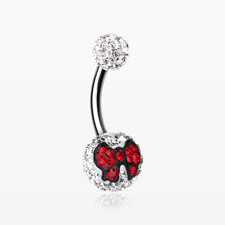 Charming Bow Tie Multi-Gem Sparkle Belly Ring-Red