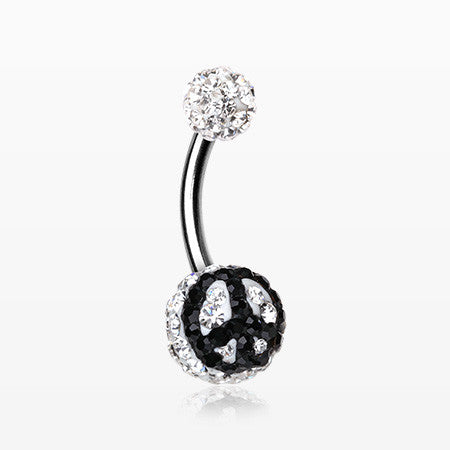 Peace Multi-Gem Sparkle Belly Ring-Clear/White