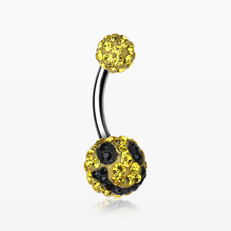 Smiley Multi-Gem Sparkle Belly Ring-Yellow