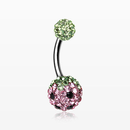 Pink Berry Multi-Gem Sparkle Belly Ring-Green/Light Pink