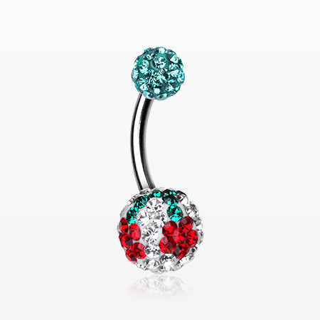 Cheri Cherry Multi-Gem Sparkle Belly Ring-Teal/Clear