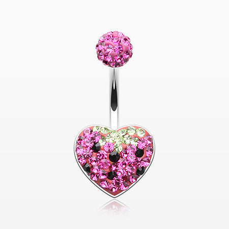 Very Berry Strawberry Multi-Gem Sparkle Heart Belly Button Ring-Fuchsia