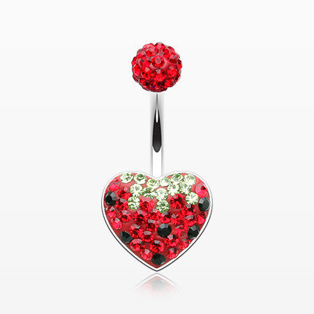 Very Berry Strawberry Multi-Gem Sparkle Heart Belly Button Ring-Red