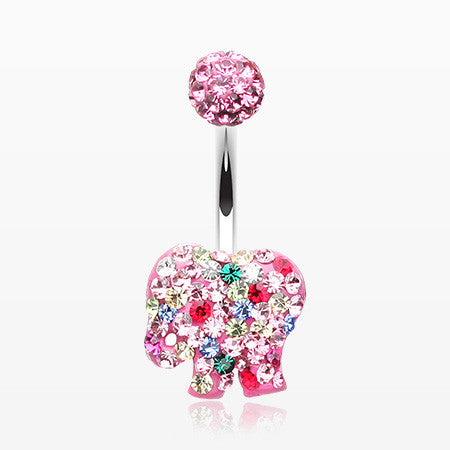Circus Elephant Cookie Multi-Gem Sparkle Belly Button Ring-Light Pink
