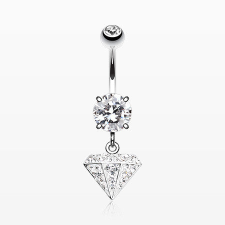 Urban Diamond Multi-Gem Sparkle Dangle Belly Button Ring-Clear