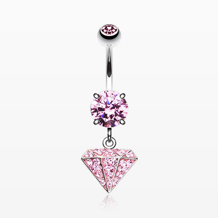 Urban Diamond Multi-Gem Sparkle Dangle Belly Button Ring-Light Pink