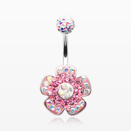Lovely Blossom Multi-Gem Sparkle Dangle Belly Button Ring-Light Pink/Aurora Borealis