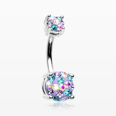 Motley Multi-Gem Sprinkle Sparkle Prong Set Belly Button Ring-Bohemian