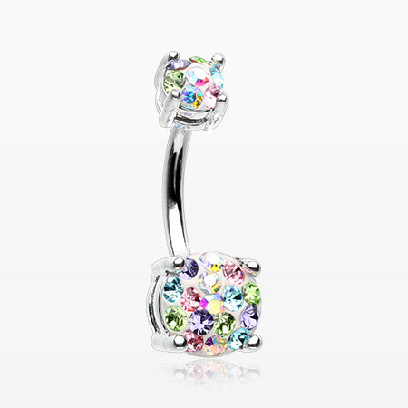 Motley Multi-Gem Sprinkle Sparkle Prong Set Belly Button Ring-Candy