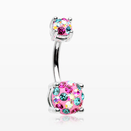 Motley Multi-Gem Sprinkle Sparkle Prong Set Belly Button Ring-Miami