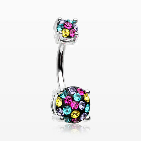 Motley Multi-Gem Sprinkle Sparkle Prong Set Belly Button Ring-Retro