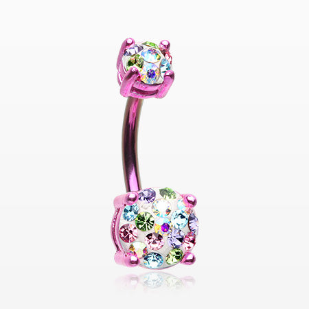 Colorline Motley Multi-Gem Sprinkle Sparkle Prong Set Belly Button Ring-Pink/Candy