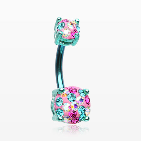 Colorline Motley Multi-Gem Sprinkle Sparkle Prong Set Belly Button Ring-Teal/Miami