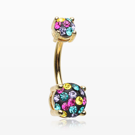 Golden Motley Multi-Gem Sprinkle Sparkle Prong Set Belly Button Ring-Retro