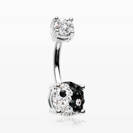 Ying Yang Multi-Gem Sprinkle Sparkle Prong Set Belly Button Ring