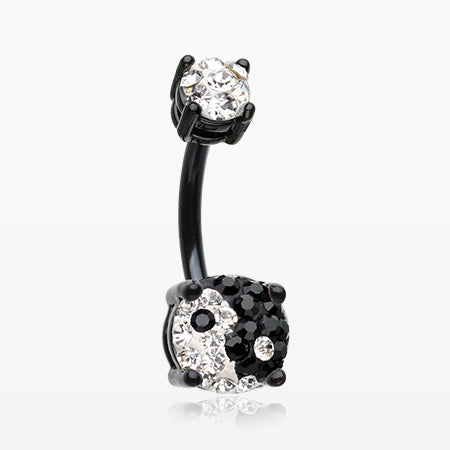 Colorline Ying Yang Multi-Gem Sprinkle Sparkle Prong Set Belly Button Ring-Black