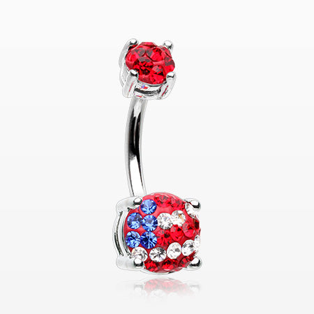 American Flag Multi-Gem Sprinkle Sparkle Prong Set Belly Button Ring