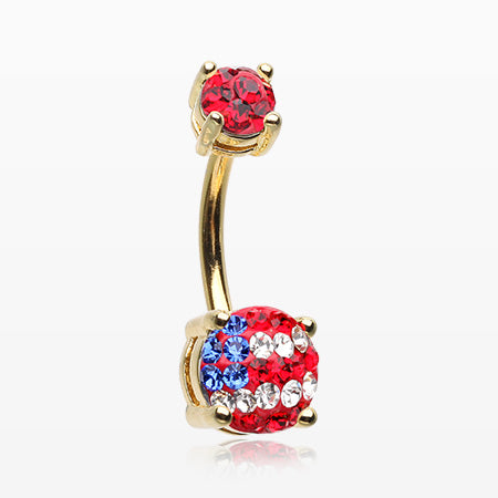 Golden American Flag Multi-Gem Sprinkle Sparkle Prong Set Belly Button Ring