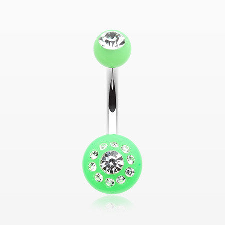 Dial Gem Sparkle Acrylic Belly Button Ring-Light Green