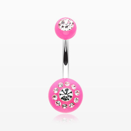 Dial Gem Sparkle Acrylic Belly Button Ring-Pink