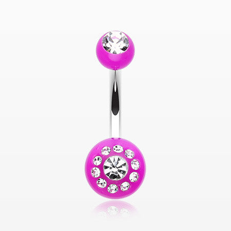 Dial Gem Sparkle Acrylic Belly Button Ring-Purple