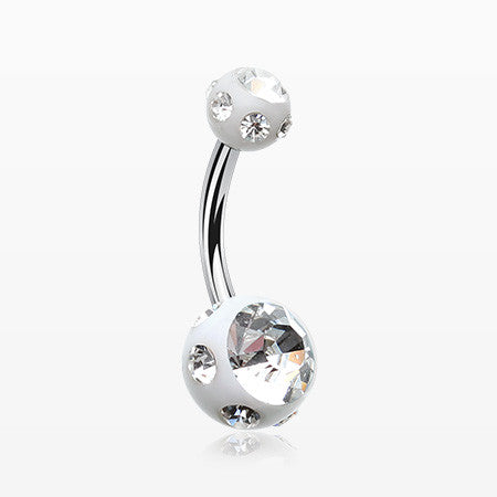 Aurora Gem Ball Acrylic Belly Button Ring-White