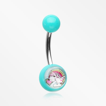 Rainbow Unicorn Acrylic Logo Belly Button Ring-Teal