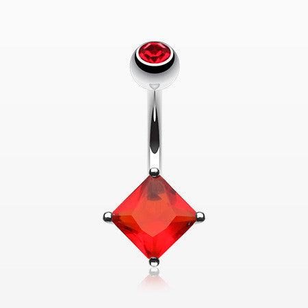 Classic Square Diamond Cut Belly Ring-Red
