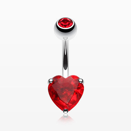 Classic Heart Sparkle Belly RIng-Red