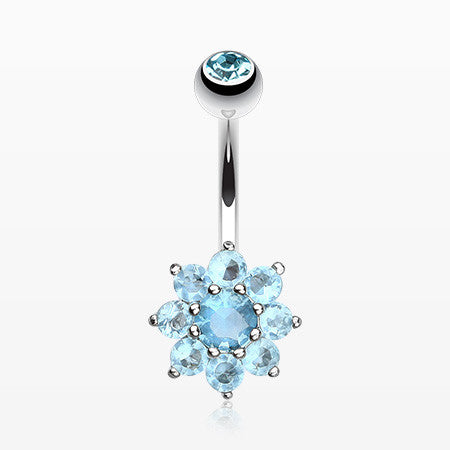 Spring Flower Belly Button Ring-Aqua